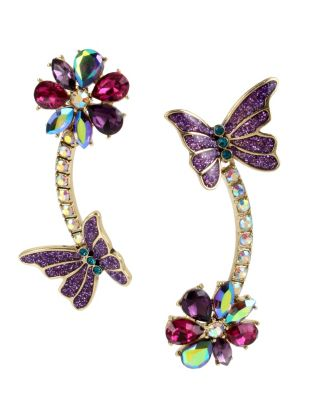 BUTTERFLY BLITZ LINEAR EARRINGS PURPLE