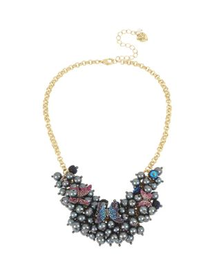 BUTTERFLY BLITZ PEARL FRONTAL NECKLACE MULTI