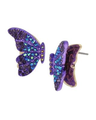 BUTTERFLY BLITZ WINGS STUD EARRINGS PURPLE