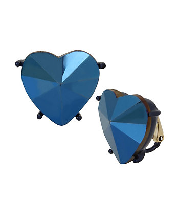 BUTTERFLY DREAMS BLUE HEART CLIP EARRINGS