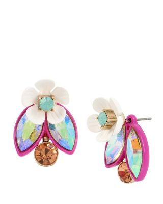 BUZZ OFF FLOWER FRONT BACK EARRINGS MULTI