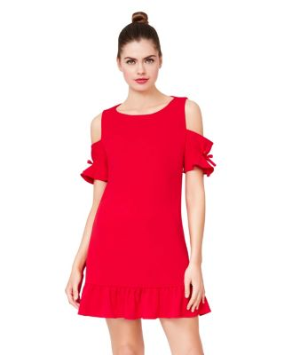 CAPTIVE COLD SHOULDER RUFFLE DRESS RED