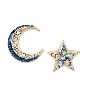 CELESTIAL STARLET MISMATCH STUD EARRINGS