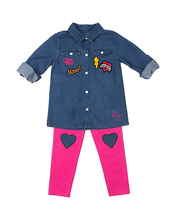 CHAMBRAY LOVE 4-6X 2 PIECE LEGGING SET