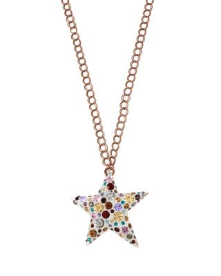 CONFETTI MULTI STAR LUCITE PENDANT NECKLACE MULTI