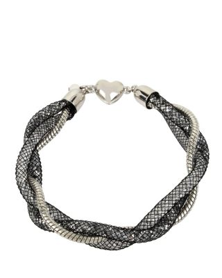CONFETTI SILVER TWISTED TUBE BRACELET BLACK