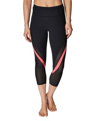 Image of CONTRAST CHEVRON MESH CROP LEGGING BLACK MULTI