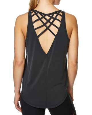 CRISS CROSS OPEN BACK TANK BLACK