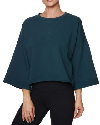 Image of CROPPED BOXY ROLL CUFF SWEATSHIRT DARK TEAL