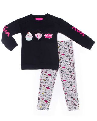 Image of CUPCAKE DREAMS 4-6X TWO PIECE SET BLACK