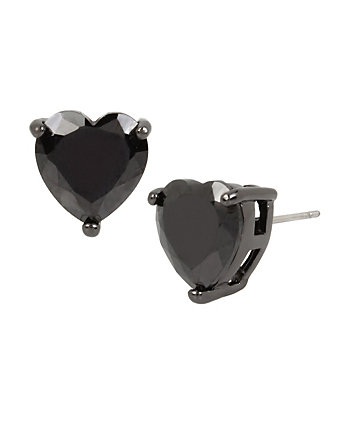 CZ HEARTS BLACK STUD EARRINGS