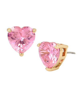 CZ HEARTS PINK STUD EARRINGS
