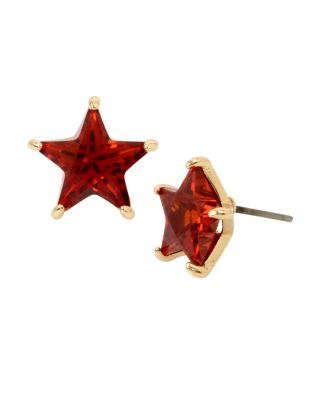 CZ STARS RED STAR EARRINGS RED