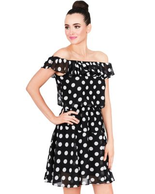DANCING DOTS MINI DRESS BLACK/WHITE