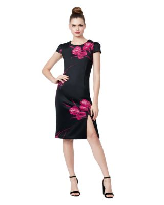 DARK LINES FLORAL MIDI DRESS BLACK/PINK
