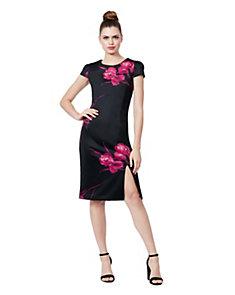 Dark Lines Fl Midi Dress