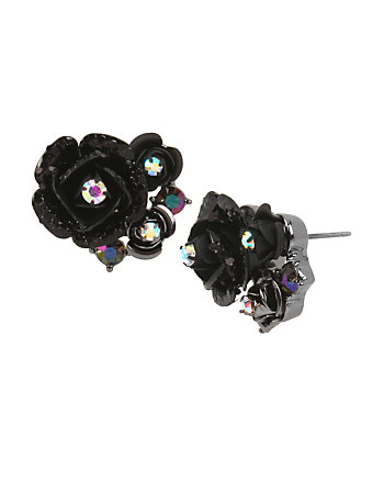 DARKNESS FLOWER STUD EARRINGS