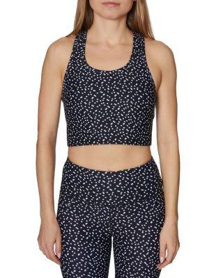 Double polka dots long line bra black white