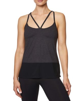 DOUBLE STRAP TANK WITH INNER BRA BLACK