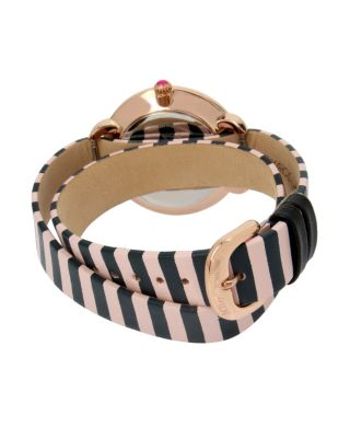 DOUBLE TROUBLE STRIPED WATCH BLACK/PINK