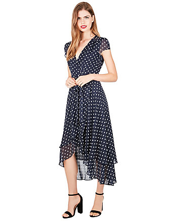 DREAMY DOTS HIGH LOW WRAP DRESS