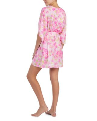 DREAMY ROSES WASHED SATIN ROBE ROSE