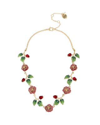 ENCHANTED ROSE ROSE COLLAR NECKLACE PINK