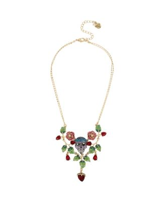 ENCHANTED ROSE SKULL BIB NECKLACE MULTI