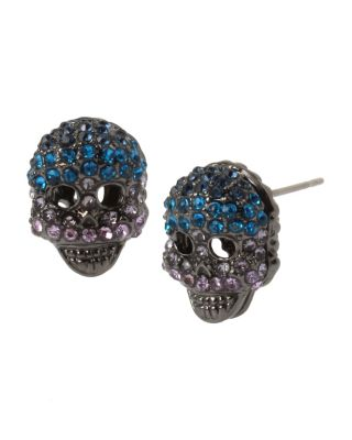 ENCHANTED ROSE SKULL STUD EARRINGS BLUE