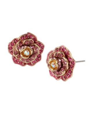 ENCHANTED ROSE STUD EARRINGS PINK