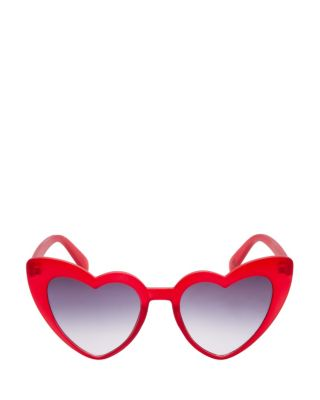 EXAGGERATED HEART CATEYE SUNGLASSES RED