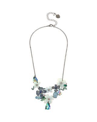 FAIRYTALE DREAMS FLOWER BIB NECKLACE BLUE