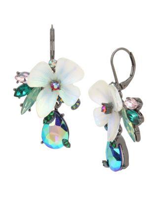 Image of FAIRYTALE DREAMS FLOWER DROP EARRINGS BLUE