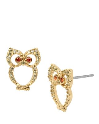 FALL CRITTERS OWL CZ EARRING ORANGE
