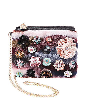 FAUX FUH EMBELLISHED CROSSBODY