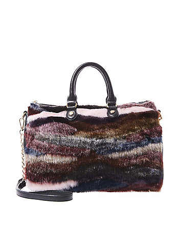FAUX FUH STRIPE SATCHEL