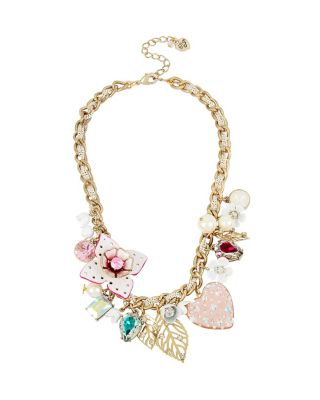 FLAT OUT FLORAL CHARM NECKLACE MULTI