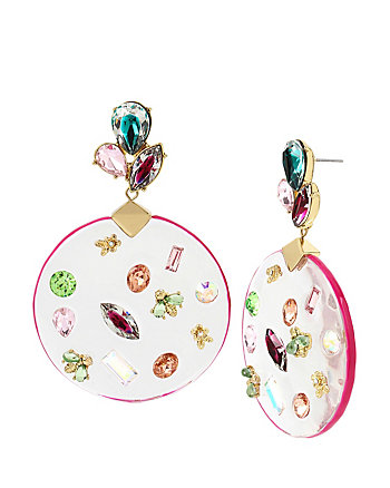 FLAT OUT FLORAL LUCITE DROP EARRINGS