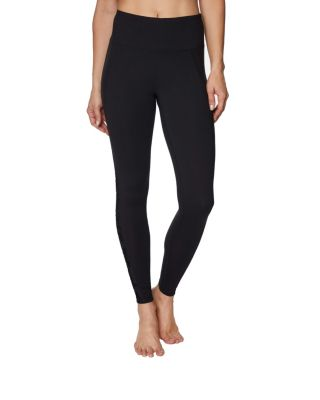 Image of FLOCKED MESH INSERT ANKLE LEGGING BLACK