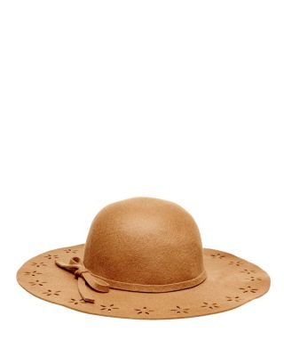 FLORAL CUT OUT FELT FLOPPY HAT CAMEL FABRIC