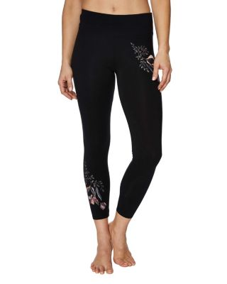 FLORAL EMBROIDERED LEGGING BLACK