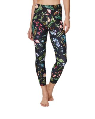 Image of FLORAL PRINTED LEGGING WITH MESH INSERTS BLACK MULTI