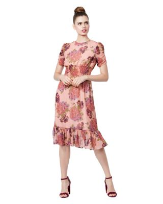 FLORAL RUFFLE HEM DRESS PINK MULTI