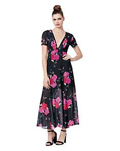 Fl Tie Waist Maxi Dress