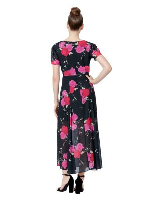 FLORAL TIE WAIST MAXI DRESS BLACK/PINK