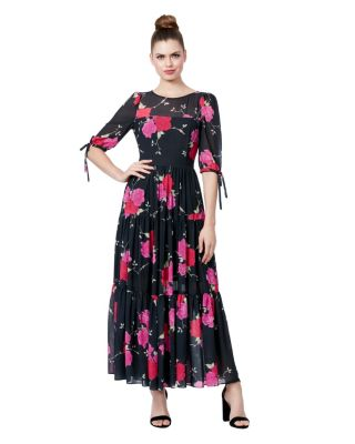 Image of FLORAL TIERED MAXI DRESS BLACK/PINK