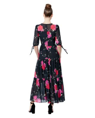 FLORAL TIERED MAXI DRESS BLACK/PINK