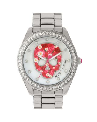 Image of FLOWER FACE SKULL WATCH SILVER