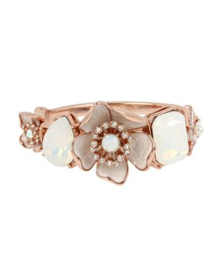Image of FLUTTERBYE FLOWER HINGE BANGLE WHITE