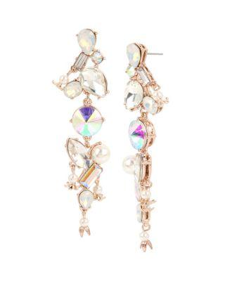 Flutterbye stone linear earrings white